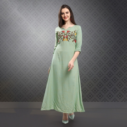 Designer Readymade Long Kurti In Pastel Green Color Fabricated On Rayon Slub