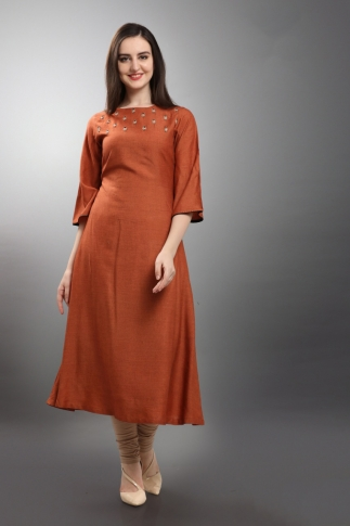 Designer Readymade Long Kurti In Rust Orange Color Fabricated On Viscose Silk