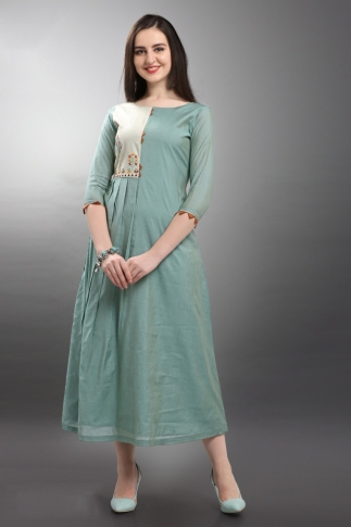 Designer Readymade Long Kurti In Steel Blue Color Fabricated On Viscose Silk
