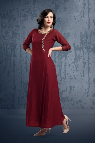 Designer Readymade Long Kurti In Maroon Color Fabricated On Muslin 0
