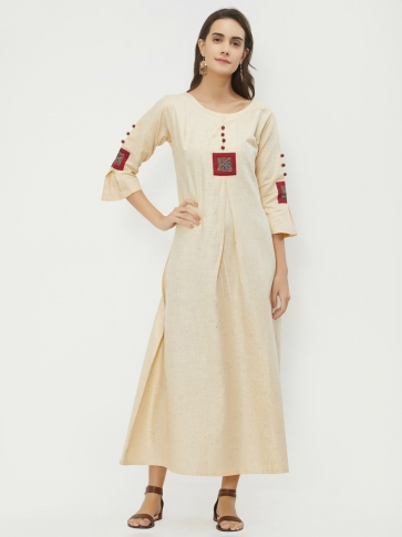 Designer Readymade Long Kurti In Cream Color Fabricated On Hand Span Cotton