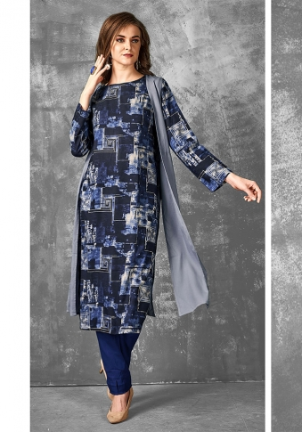 Readymade Kurti For Your Casual Wear In Navy Blue Color Fabricated on Cotton