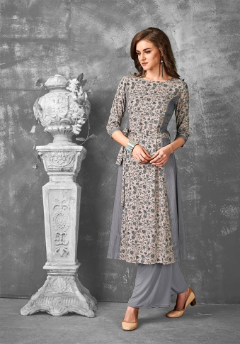 Readymade Kurti For Your Casual Wear In Sand Grey Color Fabricated on Rayon