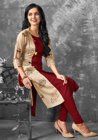 Readymade Kurti For Your Casual Wear In Maroon & Beige Color Fabricated on Cotton