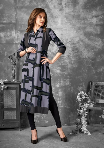 Readymade Kurti For Your Casual Wear In Grey Color Fabricated on Cotton