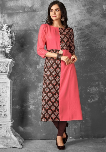 Readymade Kurti For Your Casual Wear In Pink & Brown Color Fabricated on Rayon