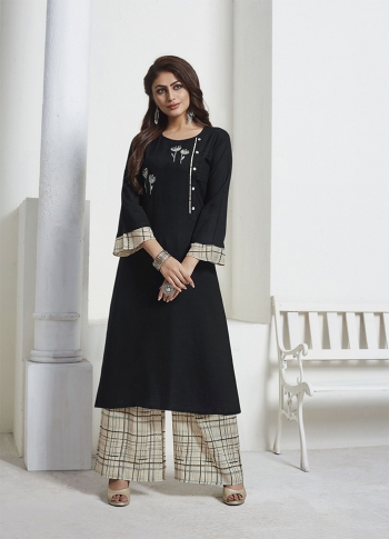 Black Readymade Kurta Set Paired With Cream Colored Bottom