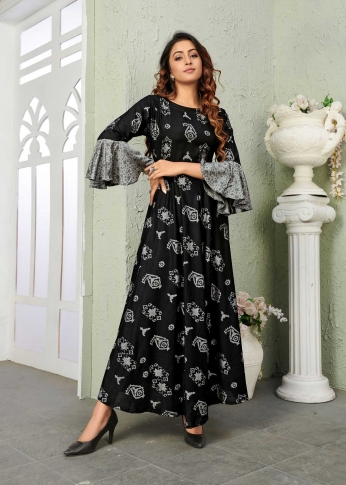 Black Coloured Readymade Gown In Black Color Fabricated On Muslin