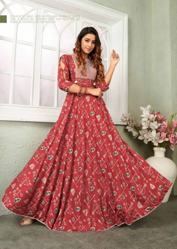 Red Coloured Readymade Gown In Black Color Fabricated On Muslin