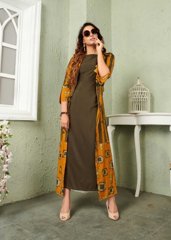 Olive Green & Musturd Yellow Coloured Readymade Gown In Black Color Fabricated On Muslin