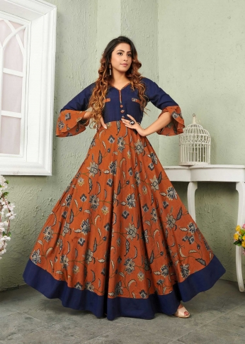 Rust & Navy Blue Coloured Readymade Gown In Black Color Fabricated On Muslin