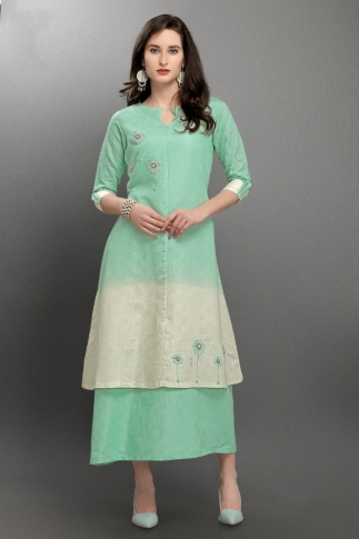 Pastel Green & White Viscose Silk Readymade Kurti With Hand Work 0