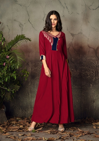 Red Colour Readymade Gown on Rayon With Thread Embroidery Work