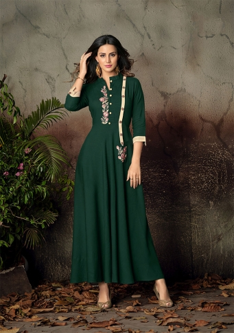 Pine Green Colour Readymade Gown on Rayon With Thread Embroidery Work