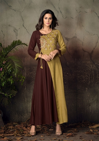 Brown & Peach Green Colour Readymade Gown on Rayon With Thread Embroidery Work