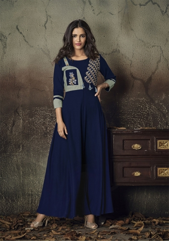 Navy Blue Colour Readymade Gown on Rayon With Thread Embroidery Work