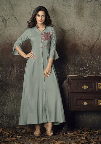 Grey Colour Readymade Gown on Rayon With Thread Embroidery Work
