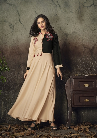 Peach Colour Readymade Gown on Rayon With Thread Embroidery Work