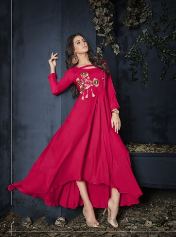 Dark Pink Colour Rayon Readymade Designer Gown With Thread Work