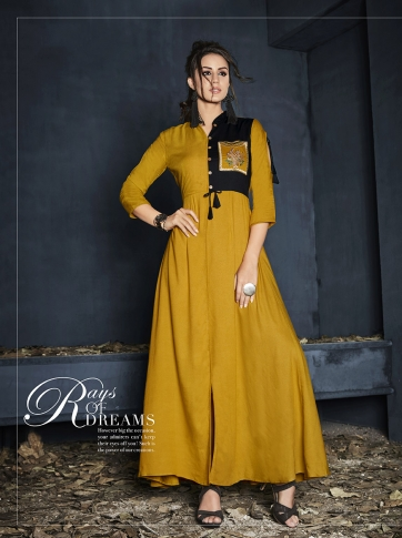 Musturd Yellow Colour Rayon Readymade Designer Gown With Thread Work