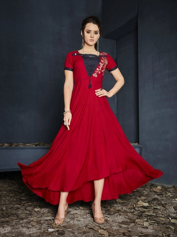 Red Colour Rayon Readymade Designer Gown With Thread Work