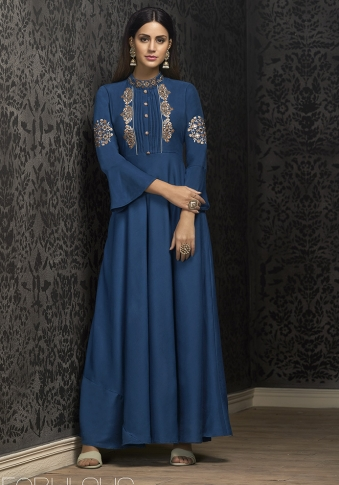 Blue Colour Designer Readymade Gown on Muslin With Thread, Jari & Stone Work