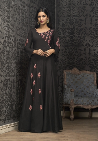 Black Colour Designer Readymade Gown on Muslin With Thread, Jari & Stone Work