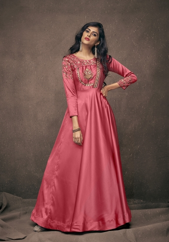 Old Rose Pink Colour Readymade Gown on Satin Silk With Jari, Resham & Stone Work