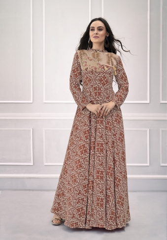 Brown Coloured Readymade Gown on Rayon