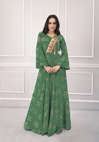 Green Colour Readymade Gown on Rayon