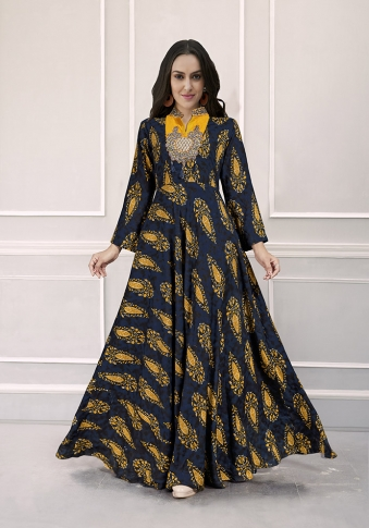 Navy Blue Colour Readymade Gown on Rayon