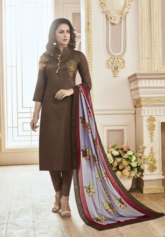 Brown Color Paired With Contrasting Lilac Colored Dupatta