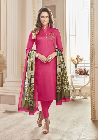 Dark Pink Color Paired With Multi Colored Dupatta