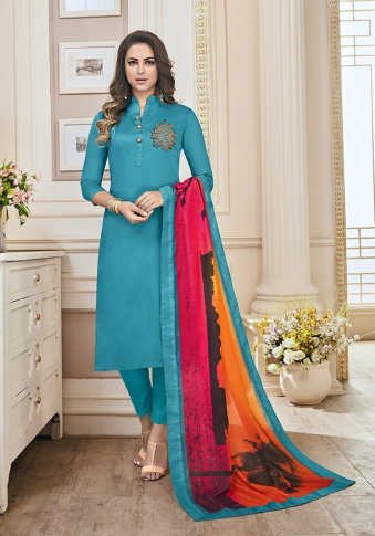 Blue Color Paired With Multi Colored Dupatta