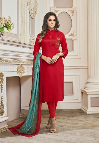 Red Colored Top And Bottom Paired With Sea Green Colored Dupatta