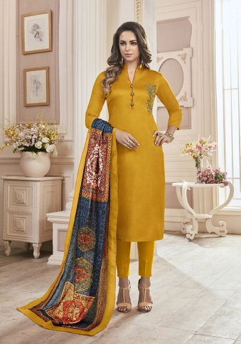 Mustard Yellow Color Paired With Multi Colored Muslin Fabricated Dupatta
