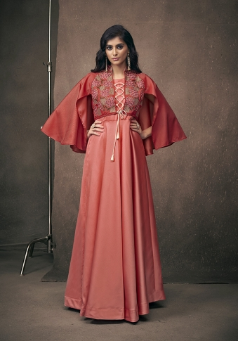 Red Colour Designer Readymade Gown On Satin Silk