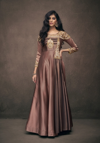 Brown Colour Designer Readymade Gown On Satin Silk