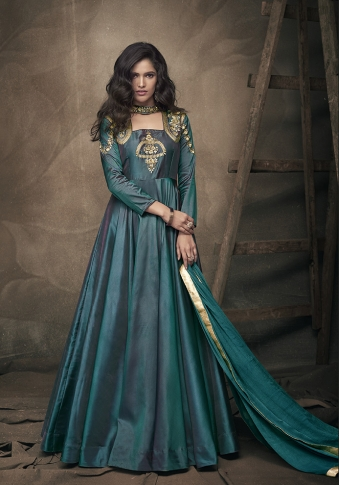 Teal Green Colour Readymade Designer Gown On Art Silk