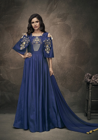 Navy Blue Colour Readymade Designer Gown On Art Silk