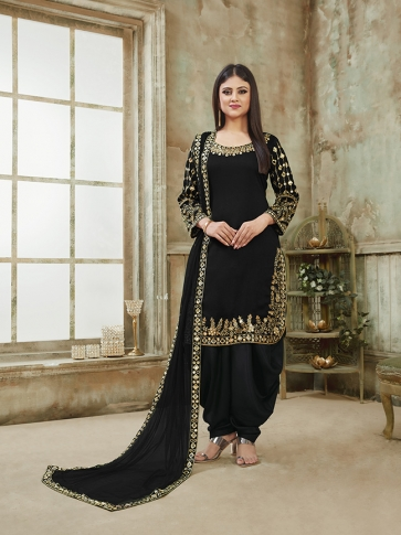 Black Color Heavy Designer Suit On Art Silk