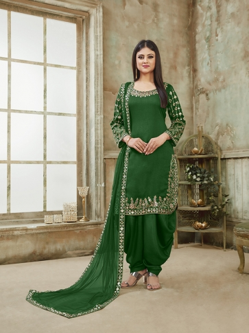 Green Color Heavy Designer Suit On Art Silk