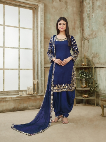 Blue Color Heavy Designer Suit In Art Silk