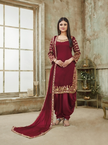 Maroon Color Heavy Designer Suit In Art Silk