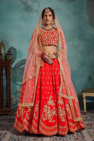 Red and Baby Pink Colour Heavy Designer Lehenga Choli On Art Silk 0