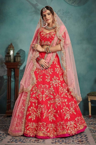 Red and Baby Pink Color Heavy Designer Lehenga Choli On Art Silk