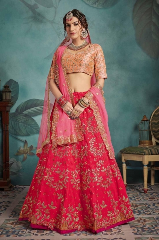 Red & Pink Color Heavy Designer Lehenga Choli On Art Silk