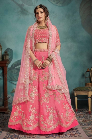 Pink Color Heavy Designer Lehenga Choli On Art Silk