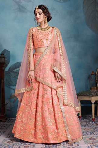 Peach Color Heavy Designer Lehenga Choli On Art Silk