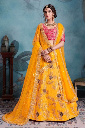 Dark Pink & Musturd Yellow Color Heavy Designer Lehenga Choli On Art Silk